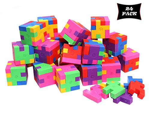 Smart Novelty Cube Puzzle Erasers for Kids School Supplies and Party Favors - Bulk Pack of 24 Colorful Mini Geometric Erasers