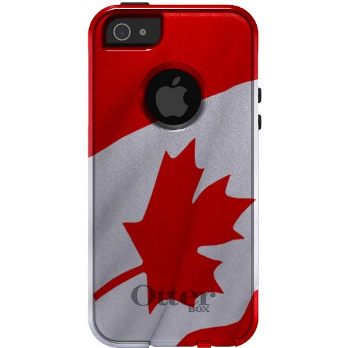 CUSTOM Black OtterBox Commuter Series Case for Apple iPhone 5 / 5S / SE - Red White Canadian Flag Canada