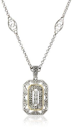 S&G Sterling Silver and 14k Yellow Gold Diamond Art Deco Style Necklace (0.12 cttw, I-J Color, I2-I3 Clarity), 18″
