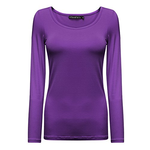 OThread & Co. Women's Long Sleeve T-Shirt Scoop Neck Basic Layer Spandex Shirts (Large, Purple)
