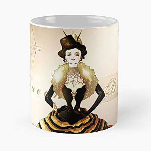 Queen Bee Haute Couture Dress Fashion Design Gown Wedding Gold Yellow Bugs Victorian Era - 11 Oz Coffee Mugs Ceramic The Best Gift For Holidays, Item Use Daily