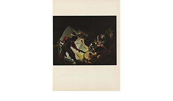 "1956 VINTAGE REMBRANDT /""THE BLINDING OF SAMSON/"" BIBLE ART COLOR LITHOGRAPH"