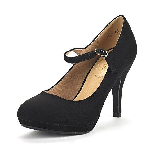 DREAM PAIRS Women's LILICA Black Suede Mary-Jane Close Toe Stilleto Platform Heel Pump Shoes - 6 M US Suede Mary Jane Platform