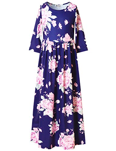 (3/4 Sleeve Boho Floral Long Dress for Girls Maxi Dresses 7-16 Navy)