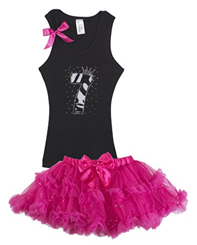 Bubblegum Divas Big Girls 7th Birthday Outfit Black White Zebra Tank Top Pink Pettiskirt 7-8 by Bubblegum Divas