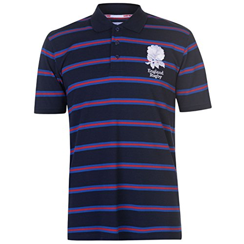 by Stripe Polo Shirt Tee Top Short Sleeve Button Placket Navy Large ()