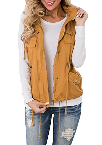 Tutorutor Women's Military Safari Utility Drawstring Lightweight Vest Jacket with Pocket (Medium, Yellow) ()
