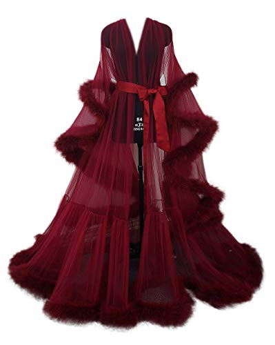 (Sexy Feather Bridal Robe Tulle Illusion Long Wedding Scarf New Custom Made ... (burgundy red))
