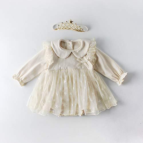 4e417bcfc03f0 ZooArts 子供服 ワンピース 女の子 ロンパース 長袖 子供ドレス ベビー服 プリンセス 星柄 ヘッドバンド 王冠