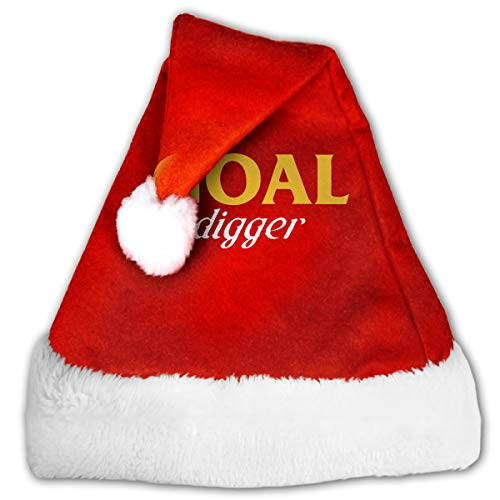 WAN1W0 Goal Digger Christmas Hat, Red&White Xmas Santa Claus' Cap for Holiday Party Hat ()