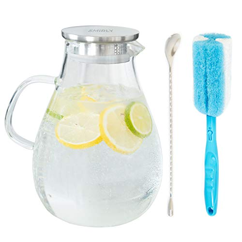 Smirly Glass Water Pitcher with Lid: Tempered Glass Pitcher with Stainless Steel Lid, Handle, and Spout - Large Decanter for Iced Tea, Juice, Lemonade, Sangria, Infused Fruit Water - 2.6 L / 90 Ounces