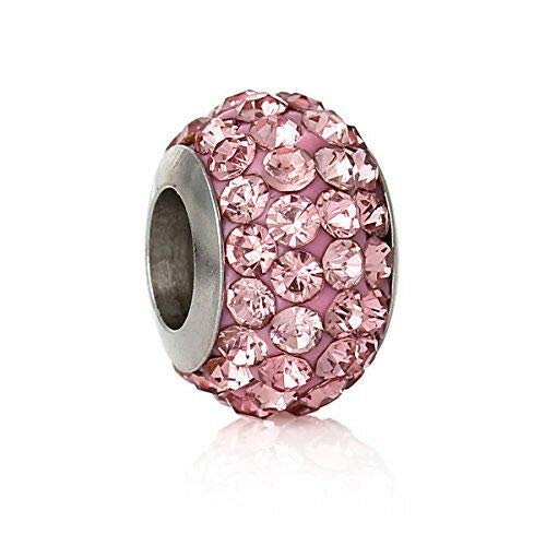 (Stainless Steel European Style Charm Beads Round Silver Tone Pink Rhinestone Jewelry Making Supply Pendant Bracelet DIY Crafting by Wholesale Charms)