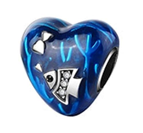 (EVESCITY Swarovski Crystal Heart Charms Sterling Silver Beads for Charm Bracelets ♥ Best Jewelry Gifts for Her Women ♥ (Heart Fish Ocean Love Beach))