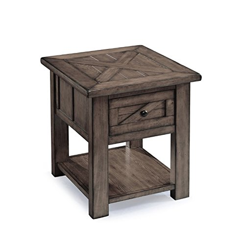- Magnussen Garrett End Table in Weathered Charcoal