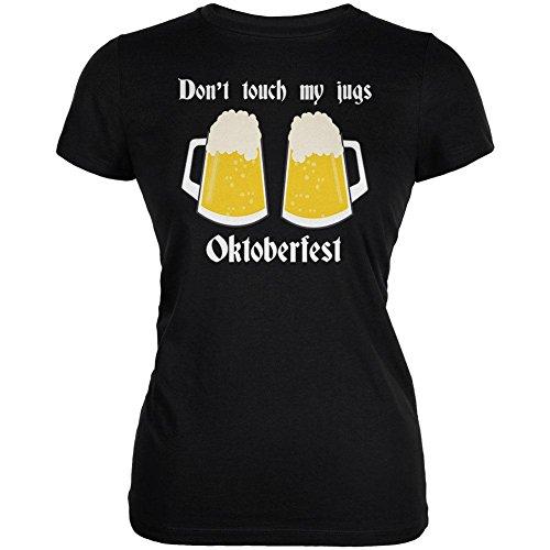 (Oktoberfest Dont Touch My Jugs German Beer Stein Juniors Soft T Shirt Black 2XL)