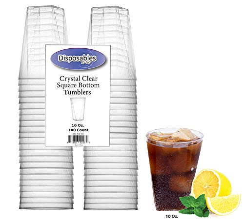 Heavy Duty 10 oz Crystal-Clear Hard Plastic | Square Bottom Tumblers, | 100 Count | Disposable or Reusable