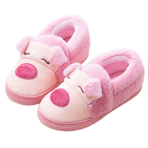 CYBLING Winter Womens House Cotton Slipper Lovely Pig Cartoon Indoor Warm Shoes Pink yEPWz