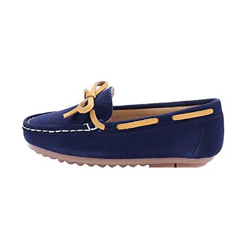 YiJee Freizeit Mokassins Jungen Mädchen Flache Schuhe Comfort Loafers Bootsschuhe Dunkel Blau