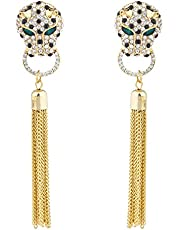 Lux Accessories Gold Tone Jaquar Head Pave Rhinestone Chain Tassel Earrings