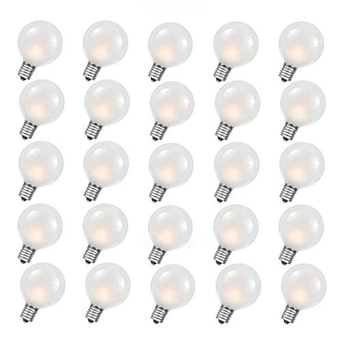 SkrLights 25 Pack G40 Frosted White Bulbs Outdoor Globe Replacement Bulbs with Frosted White, 5 watts, 120 Volts, E12 Base (String Lights Frosted)