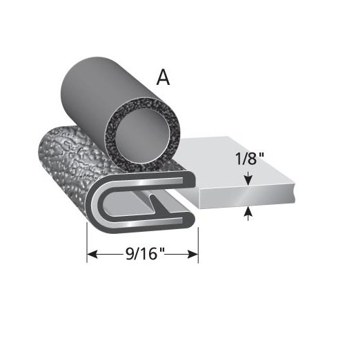 "Trim Seal with Side Bulb 3 Feet PVC Plastic Trim with EPDM Rubber Bulb Seal 3//8/"" Bulb Seal Diameter Fits 1//4/"" Edge"