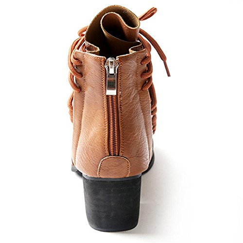 cruzan botas con H goma de cremallera de trasera HCuatro amarillas hembra las negro black temporadas grueso talón antideslizante XIAOGANG 38 resistencia mujeres el la usar Yqwd667