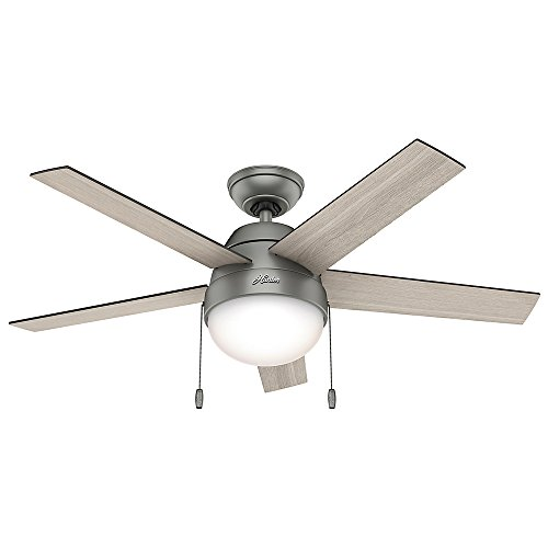 Hunter 59267 Contemporary Anslee Matte Silver Ceiling Fan With Light, 46