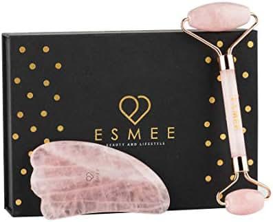 Jade Roller for Face   2 in 1 Rose Quartz Roller and Gua sha Tool Premium Set  100% Authentic Rose Quartz Anti-Aging Facial Massager by Esmee