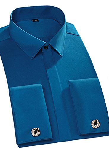 Port&Lotus Men's Pure Color French Cuff Shirt HF02
