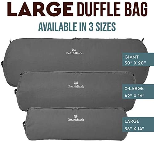 "Large Duffle Bag - Grey 36""x14"" - 90L - Canvas Military and Army Cargo Style Carryall Duffel for Men and Woman – College Student, Backpacking, Travel and Storage Shoulder Bag"