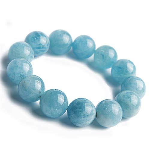 LiZiFang 20mm Genuine Blue Natural Aquamarine Gemstone Big Crystal Round Bead Bracelet