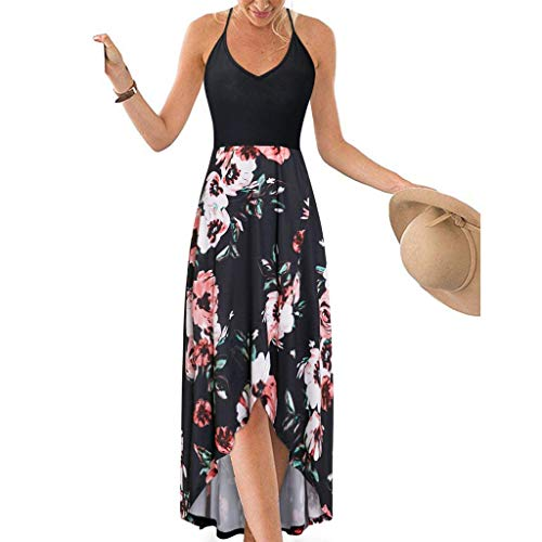 TOTOD Women Summer Dress Sexy Strappy Off Shoulder Backless Printing Bohe Long Sundress (Black,L)