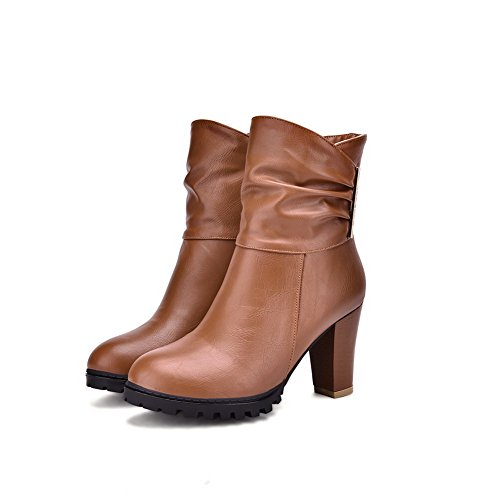 AdeeSu Girls Ornamented Wheeled Heel Shoes Round Toe Imitated Leather Boots Yellow r4QTC