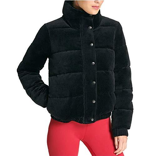 (DKNY Sport Velour Puffer Coat Black X-Large)