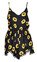 Relipop Women Summer Floral Romper Casual Spaghetti Strap Sleeveless Party Evening Mini Short Jumpsuit