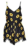 Relipop Women Summer Floral Romper Casual Sleeveless Party Evening Mini Jumpsuit