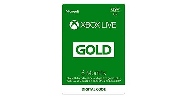 Amazon com: Xbox Live Gold: 6 Month Membership [Digital Code]: Video