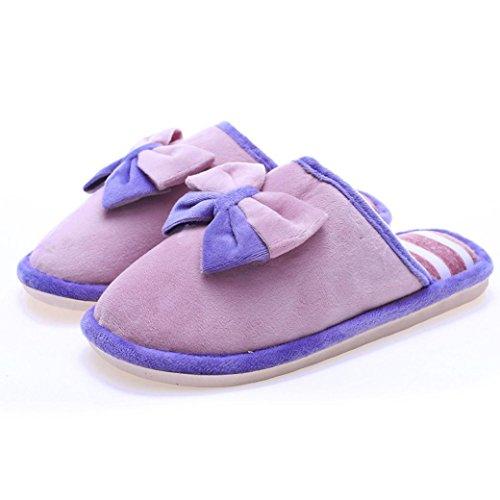 Pantoufles Hiver Bowknot Chaud Rose Cravate Antidérapant Maison Femmes Chaussures QinMM Doux Intérieur fCqtwTfxR