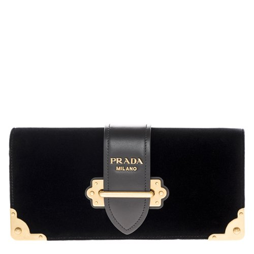 Prada Women's Cahier Handbag Velvet Black by Prada
