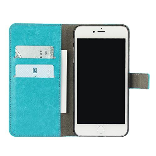 iPhone 7 Plus (5.5 inches) funda,COOLKE Retro PU Cuero con Ranuras Leather de Wallet Carcasa Piel With Card Pouch Stand de protección Funda Tapa Case Cover para Apple iPhone 7 Plus (5.5 inches) - Azul Azur