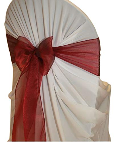 VDS - 250 PCS Elegant Organza Wedding Chair Sashes/Bows for Wedding Party Banquet Decor - Ribbon Tie Back Sash Bow - Maroon
