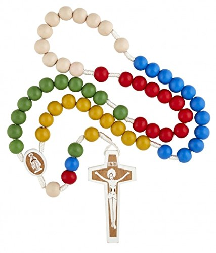 Large 10mm Wooden Prayer Bead Engraved Catholic Missionary Rosary, 17 Inch ()