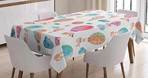 Ambesonne Watercolor Tablecloth, Hand Painted Style Floating Hot Air Balloons with Blue Clouds Print, Dining Room Kitchen Rectangular Table Cover, 52