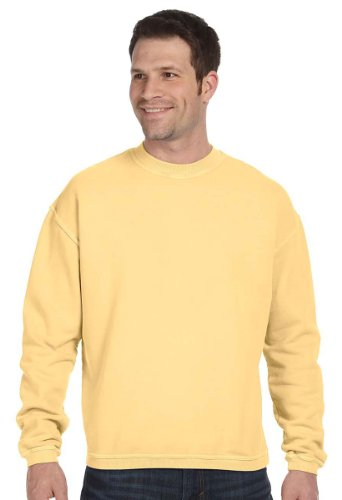 Authentic Pigment Pigment-Dyed Ringspun Cotton Fleece Crew, Small, GOLDENROD