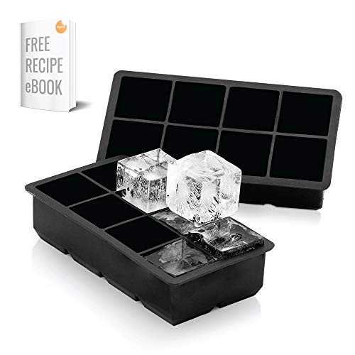 Arctic Chill 2 Inch Silicone Ice Cube Trays Set of Two (2) Ice Trays, Perfect Large Whiskey Ice Cubes, BPA,Free, FDA Approved, Dishwasher and Microwave Safe