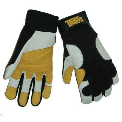 John Tillman and Co 1490M TrueFit Super Premium Full Finger Top Grain Goatskin and Spandex Mechanics Gloves with Elastic Cuff, Medium, Black/Gold/Pearl
