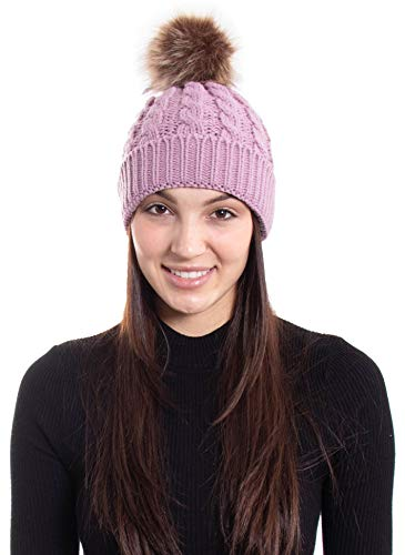 Hemantal Womens Winter Warm Cable Knit Slouchy Beanie Hat with Faux Fur Pompom