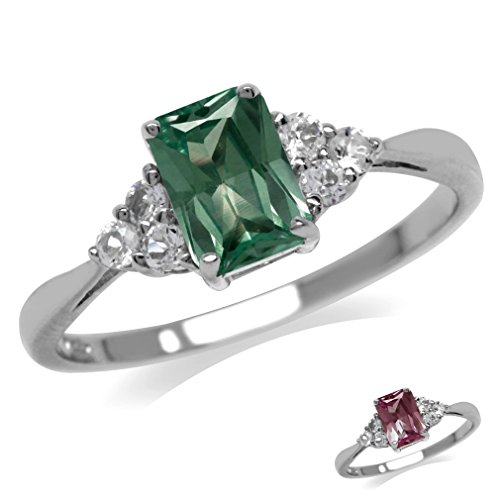 Simulated Color Change Alexandrite & White CZ 925 Sterling Silver Engagement Ring Size -