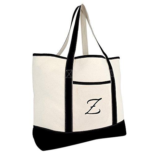 DALIX Monogram Bag Personalized Totes For Women Open Top Black Letter Z Big Accessories Canvas Tote