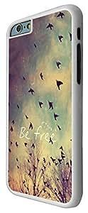 """Carcasa Posterior de Plástico Duro & Metal a la Moda con Diseño de Apariencia Natural de Cielo, Nubes, Aves y Cita Be Free para iPhone 6 Plus de 5.5"""""""